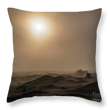 Foggy Morning In The Namib Desert Throw Pillow