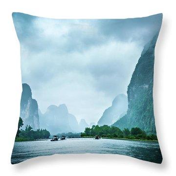 Foggy Morning On The Li River  Throw Pillow