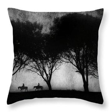 Foggy Morning Ride Throw Pillow