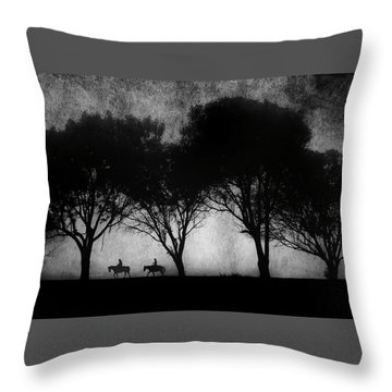 Foggy Morning Ride Throw Pillow