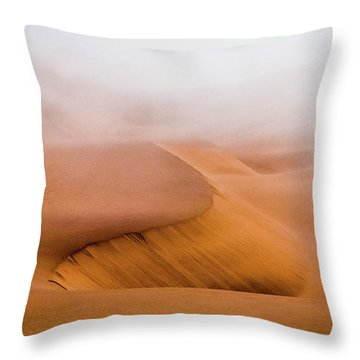 Foggy Namib Desert Throw Pillow