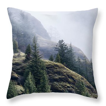 Foggy On Saddle Mountain Throw Pillow