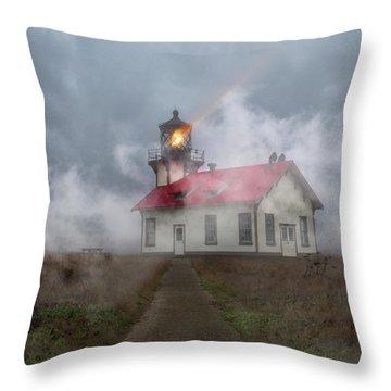 Foggy Point Cabrillo Lighthouse California Throw Pillow
