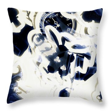 Follow The Blue Rabbit Throw Pillow