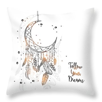 Follow Your Dreamcatcher - Boho Chic Ethnic Nursery Art Poster Print Throw Pillow