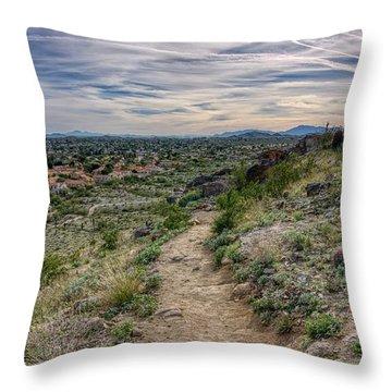 Following The Desert Path Throw Pillow