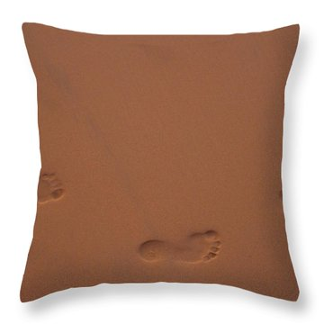 Foot Prints In Sand Throw Pillow