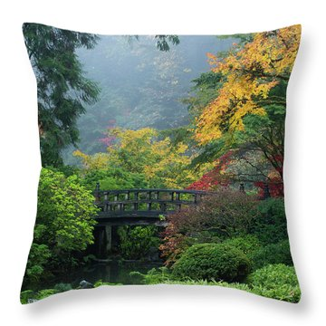 Footbridge In Japanese Garden Throw Pillow