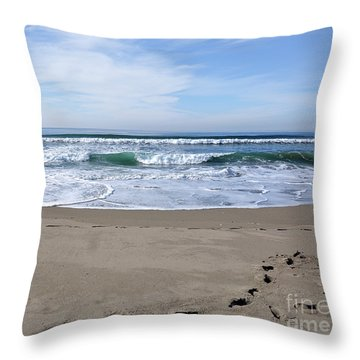 Footprints By The Sea Throw Pillow