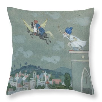 Throw Pillow featuring the drawing For Loose Reins, The Horse Horse Rushes Away With Them Both by Ivar Arosenius