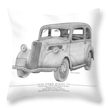 Ford Eight 7y Saloon Throw Pillow