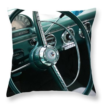Throw Pillow featuring the photograph 1955 Ford Fairlane Steering Wheel by Debi Dalio