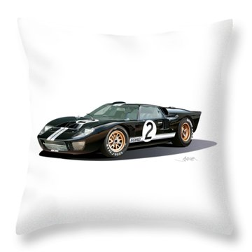 Ford Gt 40 Illustration Throw Pillow