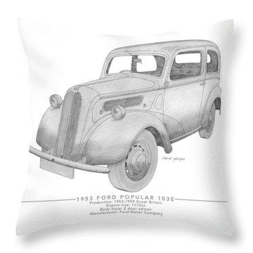 Ford Popular 103e Saloon Throw Pillow