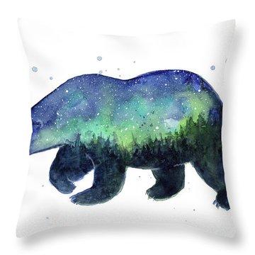 Forest Bear Galaxy Throw Pillow