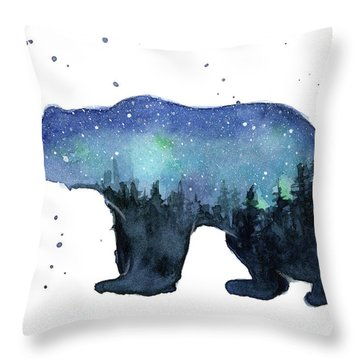 Forest Bear Watercolor Galaxy Throw Pillow