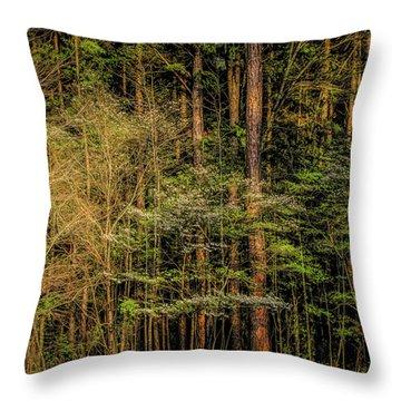 Forest Dogwood Throw Pillow