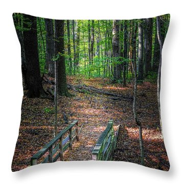 Forest Footbridge Throw Pillow