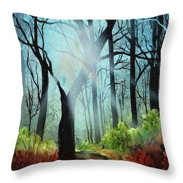 Forest Light Show Throw Pillow
