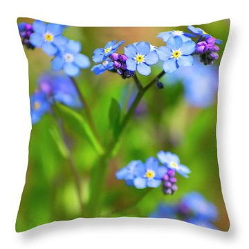 Forget Me Not Wildflowers Throw Pillow