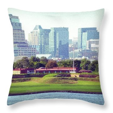 Throw Pillow featuring the photograph Fort Mchenry With Baltimore Background by Bill Swartwout Fine Art Photography