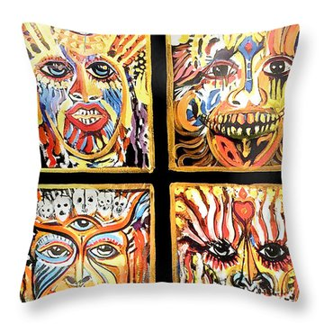 Four Happiness Throw Pillow
