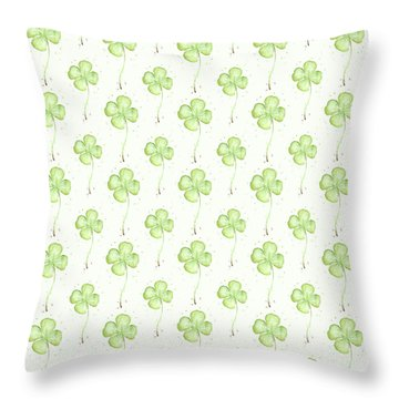 Four Leaf Clover Lucky Charm Pattern Throw Pillow