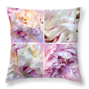 Throw Pillow featuring the digital art Four Peonies  by Cindy Greenstein