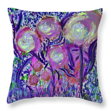Four Pink Flowers In Blue Throw Pillow
