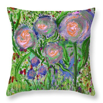 Four Pink Flowers In Green Throw Pillow