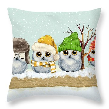 Four Winter Owls Throw Pillow