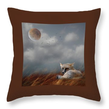 Fox In Moonlight Square Throw Pillow