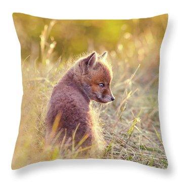 Fox Kit Series - Cuteness In Foxcoat Throw Pillow