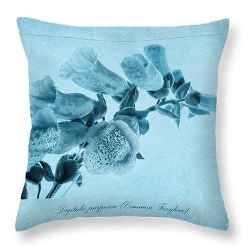 Foxgove Cyanotype Throw Pillow