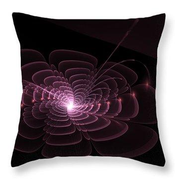 Fractal Rose Throw Pillow