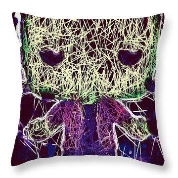 Throw Pillow featuring the mixed media Frankenstein Pop by Al Matra