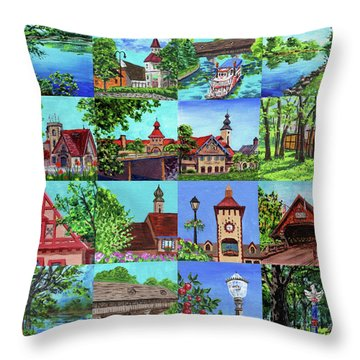 Frankenmuth Downtown Michigan Painting Collage I Throw Pillow