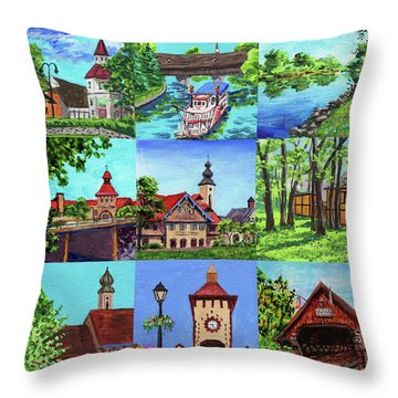 Frankenmuth Downtown Michigan Painting Collage IIi Throw Pillow