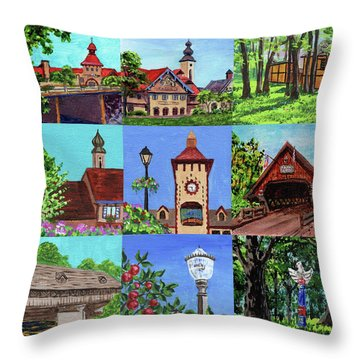 Frankenmuth Downtown Michigan Painting Collage Iv Throw Pillow