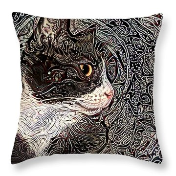 Franklyn The Tuxedo Cat Throw Pillow