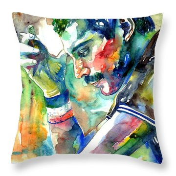 Freddie Mercury With Cigarette Throw Pillow