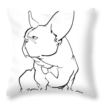 French Bulldog Gesture Sketch Throw Pillow