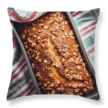 Freshly Baked Banana Bread Throw Pillow