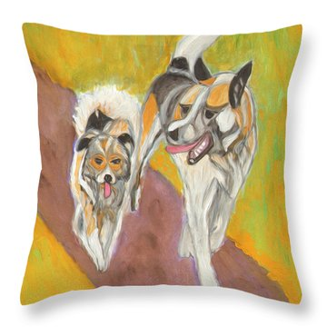 Throw Pillow featuring the painting Friends by Dobrotsvet Art