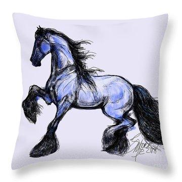 Friesian Mare Throw Pillow
