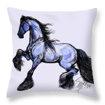 Friesian Mare Throw Pillow
