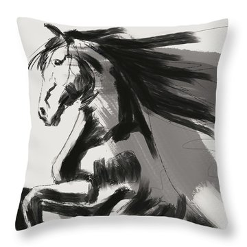 Throw Pillow featuring the painting Frisian Rising Horse by Go Van Kampen