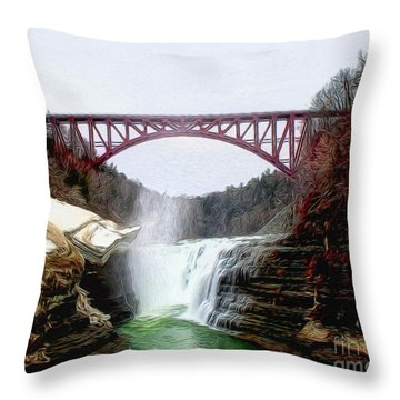 Frletchworth Railroad And Falls Throw Pillow