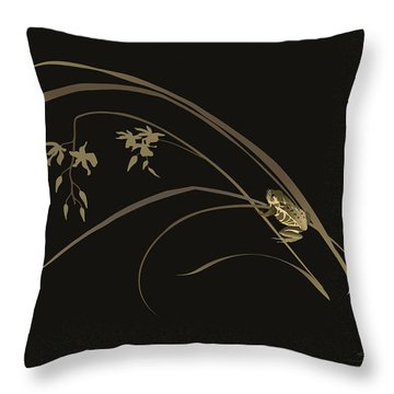 Frog And Orchid Throw Pillow