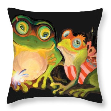 Frogs Overlay  Throw Pillow